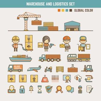 Elementos de infografía de almacén y logística