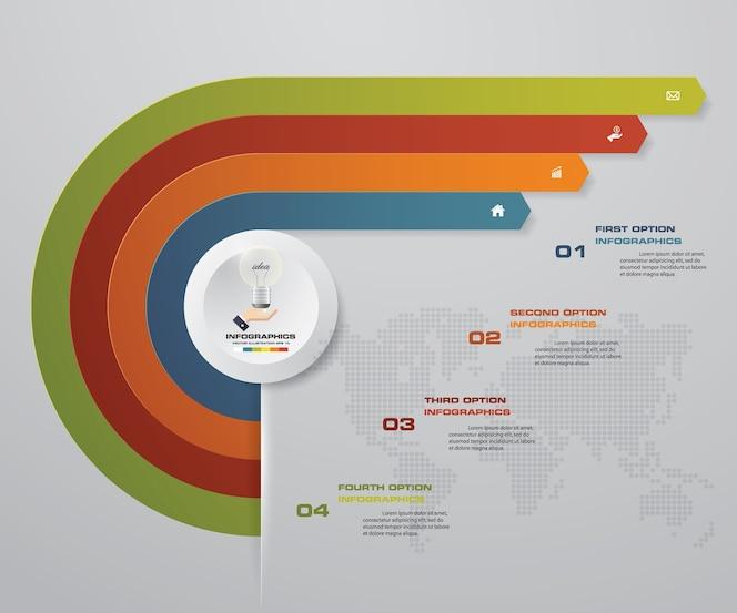 Elementos de infografía de flecha de 4 pasos para presentación de datos.