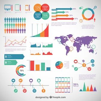 Elementos de infografía paquete
