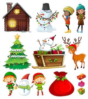 Elementos de la navidad con el árbol y muchos personajes