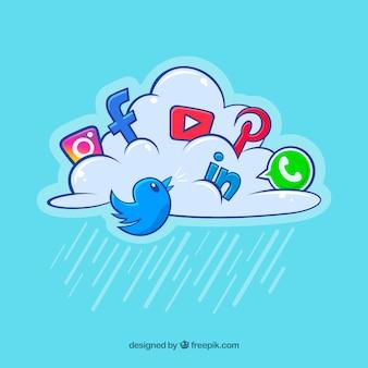 Elementos de medios sociales en una nube