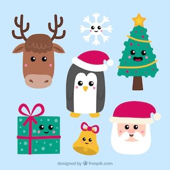 Elementos de navidad con caras sonrientes