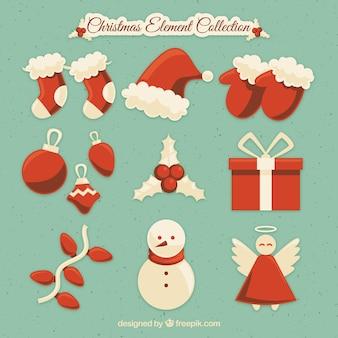 Elementos de navidad con diseño plano