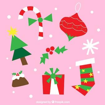 Elementos de navidad con estilo gracioso