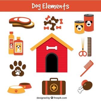 Elementos de perro en estilo plano