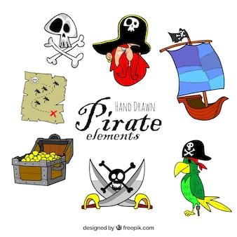Elementos de pirata dibujados a mano