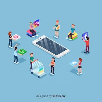 Elementos de redes sociales en estilo isométrico