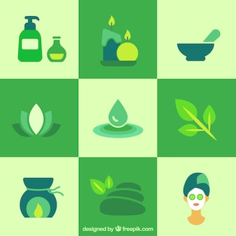 Elementos de spa verde