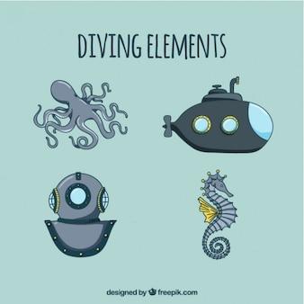 Elementos de submarinismo dibujados a mano