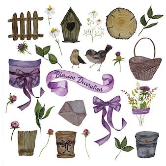 Elementos de decoración acuarela con cesta de flores.