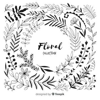Elementos de decoración florales sin color