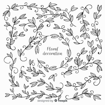 Elementos de decoración florales dibujados a mano sin color