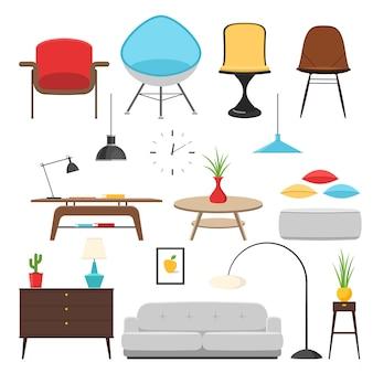 Elementos de decoración de interiores de muebles y diseño de habitaciones.