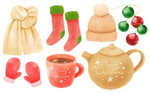 Elementos de decoración navideña ilustraciones estilos de acuarela