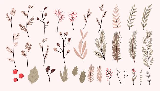 Los elementos de la decoración de las plantas de navidad fijaron la etiqueta engomada para el diseño de los remolinos del diario de la bala