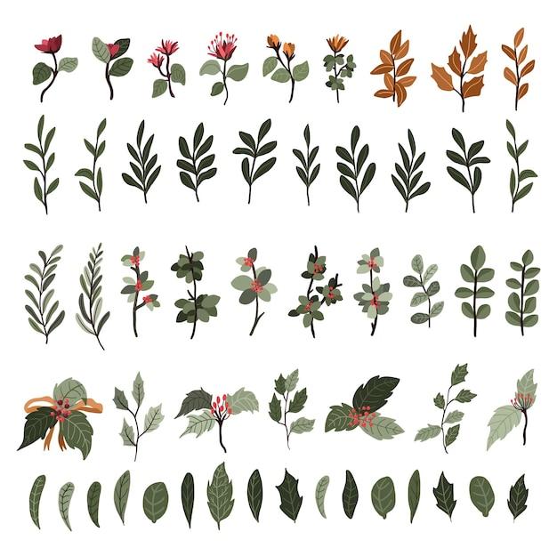 Los elementos de la decoración de las plantas navideñas fijaron la etiqueta engomada para los remolinos del diario de la bala