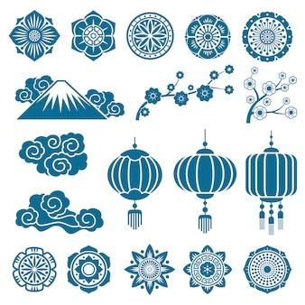 Elementos de decoración de vectores con motivos asiáticos japoneses y chinos