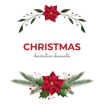 Elementos decorativos de acuarela navideña