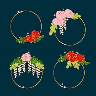 Elementos decorativos flor círculo dorado. guirnalda floral rosa romántica.