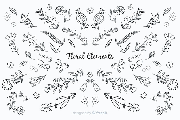 Elementos decorativos florales sin color dibujados a mano