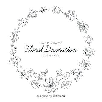 Elementos decorativos florales dibujados a mano