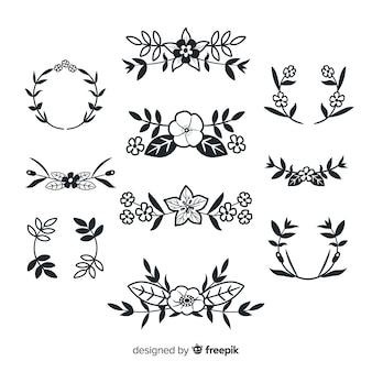 Elementos decorativos de flores dibujados a mano
