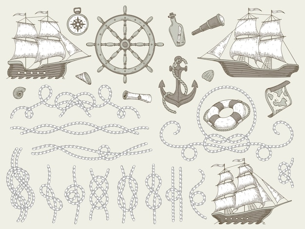 Elementos decorativos marinos. juego de marcos de cuerdas de mar, velero o barco náutico y esquinas de cuerdas náuticas