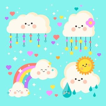 Elementos decorativos planos chuva de amor