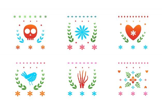 Elementos decorativos de los símbolos del día de muertos mexicanos coloreados.