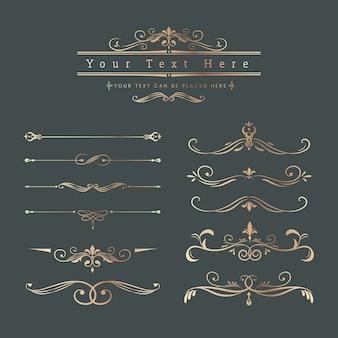 Elementos decorativos vintage de diseño.
