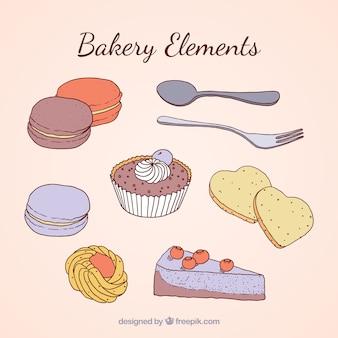 Elementos deliciosos de panadería dibujados a mano