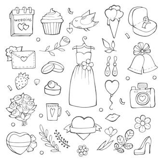 Elementos del día de la boda en estilo doodle. varias fotos de novias y herramientas de boda.