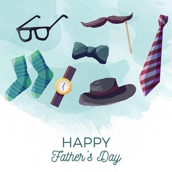 Elementos del día del padre acuarela con letras