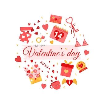 Elementos del día de san valentín para el diseño con corazones, regalos, conejito, globos