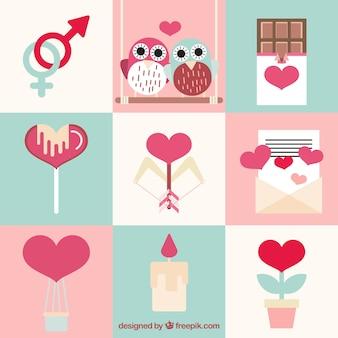 Elementos del día de san valentín en estilo lindo