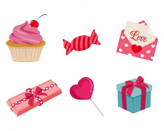 Elementos del dia de san valentin
