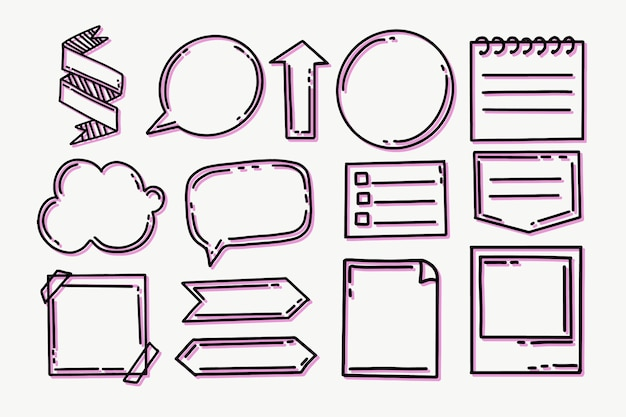 Elementos de diario de bala dibujados a mano