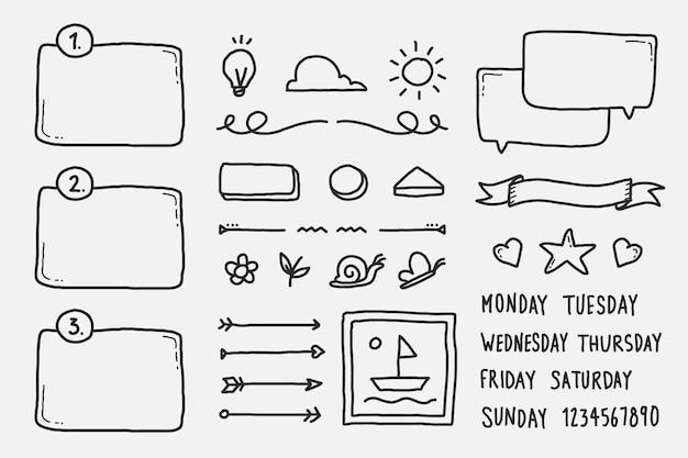 Elementos de diario de viñetas dibujados a mano