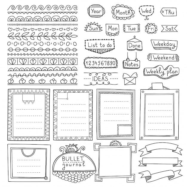 Elementos dibujados a mano de bullet journal para cuaderno, diario y planificador. banners de doodle aislados sobre fondo blanco. días de la semana, notas, lista, marcos, separadores, cintas.
