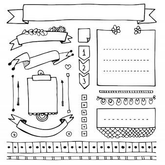Elementos dibujados a mano de bullet journal para cuaderno, diario y planificador. banners de doodle aislados sobre fondo blanco. notas, lista, marcos, separadores, cintas.