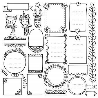 Elementos dibujados a mano de bullet journal para cuaderno, diario y planificador. marcos de doodle aislados