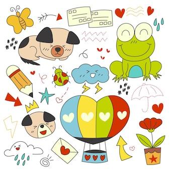 Elementos dibujados a mano de carácter, animal y elemento vectorial.