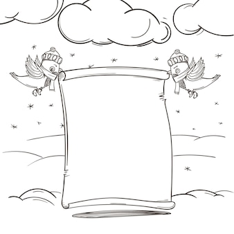 Elementos dibujados a mano de la decoración navideña de la temporada de invierno. ilustración de vector. espacio de copia para un texto