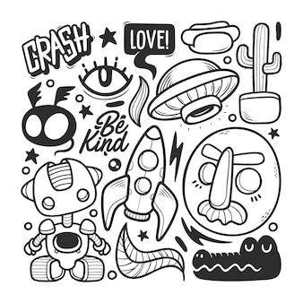 Elementos dibujados a mano doodle vector