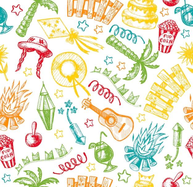 Elementos dibujados a mano de festa junina