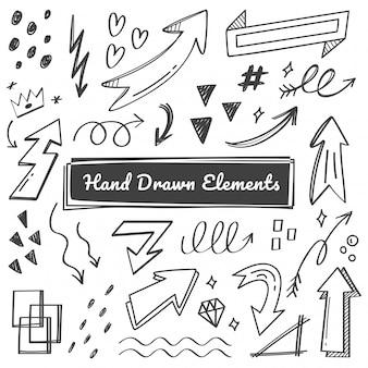 Elementos dibujados a mano, flecha, garabatos swish