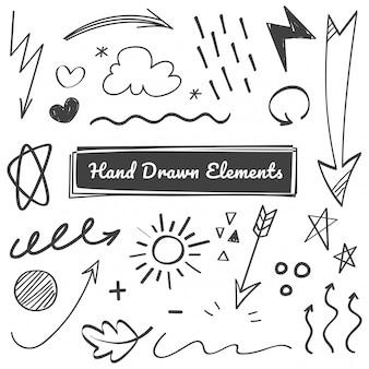 Elementos dibujados a mano, flecha, swish, garabatos de énfasis