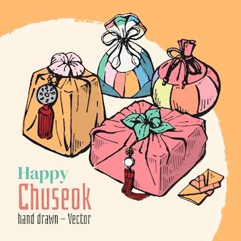 Elementos dibujados a mano de happy chuseok. mediados de otoño festival de luna llena de fondo.