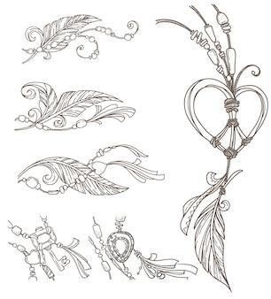 Elementos dibujados a mano de pollito boho, estilo doodle