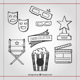 Elementos dibujados a mano relacionados con cine